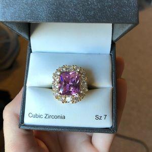Large Pink Cubic Zirconia Ring